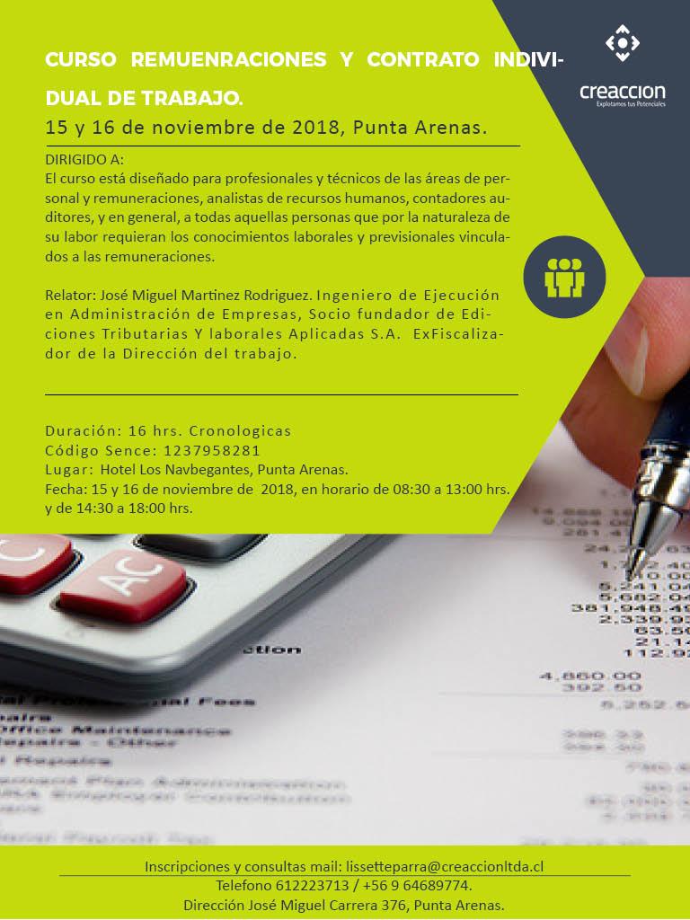 Remuneraciones Y Contrato Individual De Trabajo Creaccion Ltda